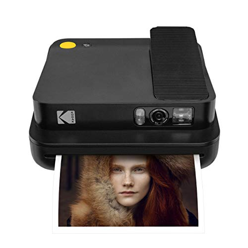 KODAK Smile Classic Digital Instant Camera with Bluetooth (Black) 16MP Pictures, 35 Prints Per Charge – Includes Starter Pack 3.5 x 4.25 Zink Photo Paper, Sticker Frames Edition