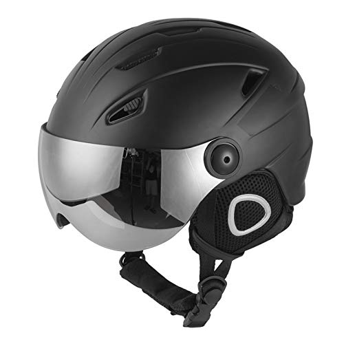 Ski Helmet, Snowboard Helmet Motorcycle Snowmobile Skateboard Safety Helmet Winter Warm,Black,M