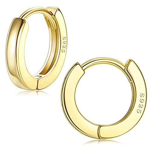 JeweBella Pendientes de aro de plata de ley 925 para mujer, brillantes, hipoalergénicos, pequeños, para dormir, 10/13 mm de diámetro, Plata de ley,