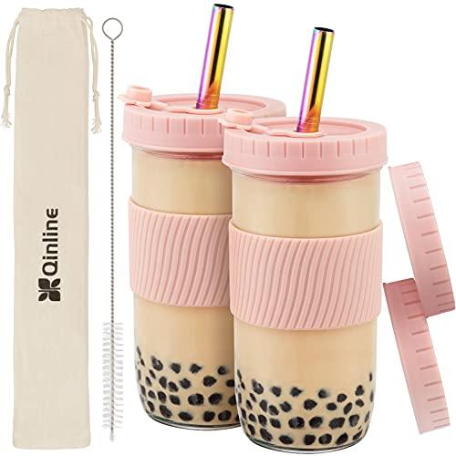 Reusable Boba Cup Bubble Tea Cup 2 Pack, 24Oz Wide...