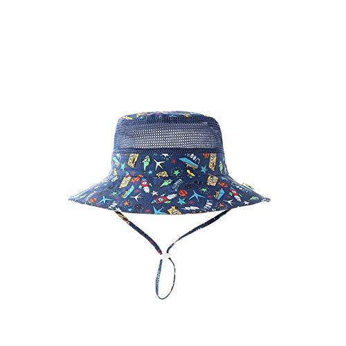TREEMEN Baby Sonnenhut,Verstellbarer Hut mit Breiter Krempe Sonnenschutz,UV Schutz Hutx,Unisex Baby Mütze,Semi mesh Type-car bus-56cm