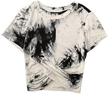 Floerns Women s Short Sleeve Tie Dye Twist Front Summer Crop Tops Tee T Shirts Black White M product image