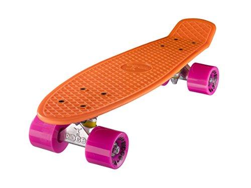"""Ridge 22\"""" Mini Cruiser Board Retro Skateboard, komplett ausgerüstet, in orange, völlig in der EU entworfen und hergestellt"""