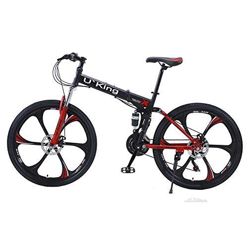 U`King Folding Mountain Bike, 21 Speed High Carbon Steel...