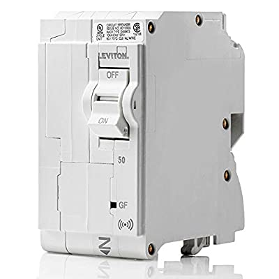 Leviton LB250-GS 50 Amp, 2-Pole Plug-on Smart GFCI Branch Circuit Breaker, 120 VAC, White
