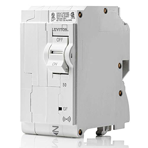 Leviton LB250-GS 50 Amp, 2-Pole Plug-on Smart GFCI Branch Circuit Breaker, 120 VAC, White