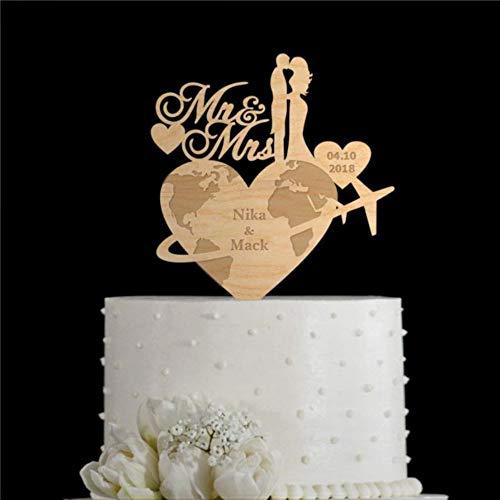 Schicker Hochzeitstortenaufsatz für Reisen, Hochzeit, Reisethema, personalisierbarer Tortenaufsatz