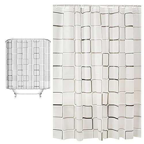 Duschvorhang, Duschvorhang Anti-Schimmel , Wasserdicht & verdickt Waschbar Anti-Bakteriell Duschvorhäng it 12 Duschvorhangringen, 180 × 200 cm
