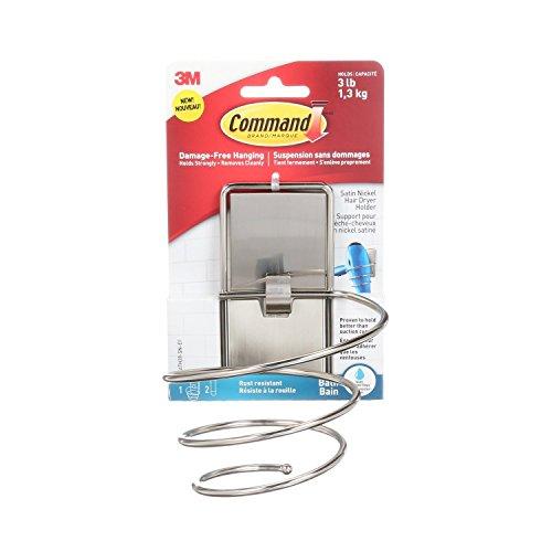 Command Hair Dryer Holder, Satin Nickel, 1-Holder, 2-Water-Resistant Strips, Organize Damage-Free