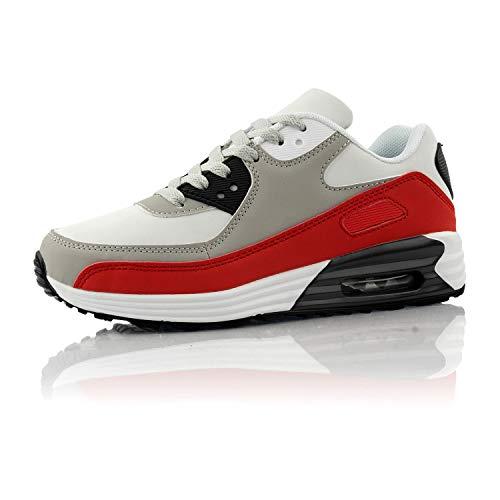 Fusskleidung® Damen Herren Sportschuhe Dämpfung Sneaker leichte Laufschuhe Rot Grau Weiß EU 44