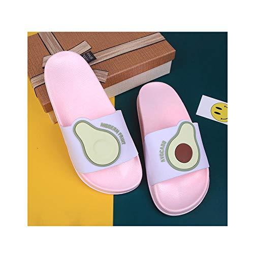 OUGEA INS Viento Dibujos Animados Ganado Oleo Slippers Zapatillas para el hogar Zapatillas de Verano Zapatos de Mujer Al Aire Libre Frío Drag Fruit Slippers-Rosa_40-41