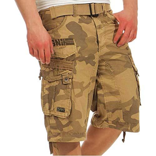 Geographical Norway PANORAMIQUE Men - Bermuda Cotone Casual Shorts - Bermuda Sportivi da Uomo Short - Bermuda Chino Traspiranti - Pantaloncini Corti con Cintura vestibilità Normale Camo Beige L