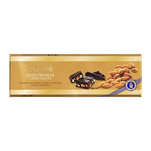 Tableta Lindt Gama Oro Chocolate Negro con Almendras, 5 Paquetes de 300 g