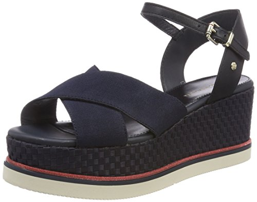 Tommy Hilfiger Damen Sporty Stretch Flatform Corp. Plateausandalen, Blau (Midnight 403), 41 EU