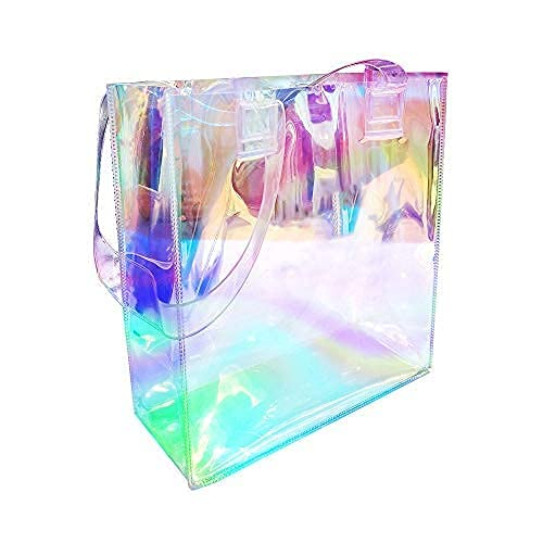 Clear Tote Bags, Holographic Rainbow Work Bag, Multi-Use Big Capacity Shoulder Handbag for Shopping, Gym, Sports, Security Travel, Beach