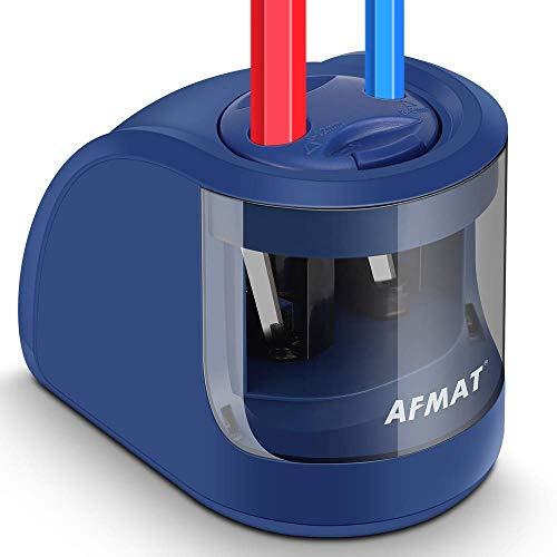 AFMAT Large Pencil Sharpener, Pencil Sharpener for Large Pencils, Electric Pencil Sharpeners for 6-12mm, Battery Operated Colored Pencil Sharpener for Kids, Adults, Artists, 1500 Sharpening Times