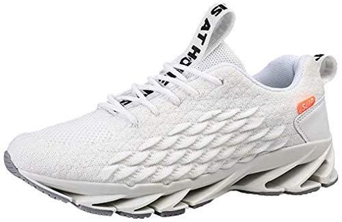 Scarpe Running Uomo Sneakers Respirabile Fitness Scarpe da Ginnastica Respirabile Mesh Outdoor Casual Bianco 40