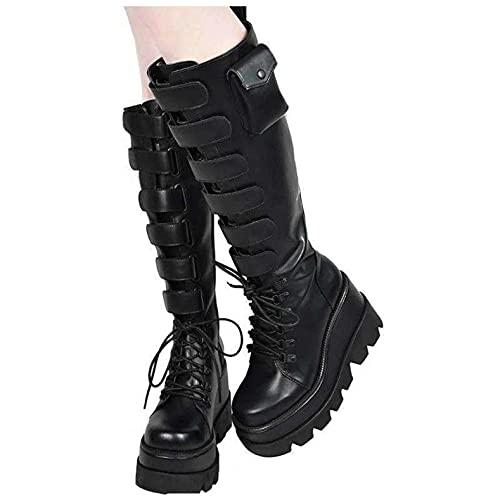 Binggong Plateau Stiefel Damen Gothic Stiefeletten Halbhoch Damenstiefel Schnürstiefel High Heels Punk Stiefel mit Schnürung Langschaftstiefel Damen Keilabsatz Kniehohe Stiefel
