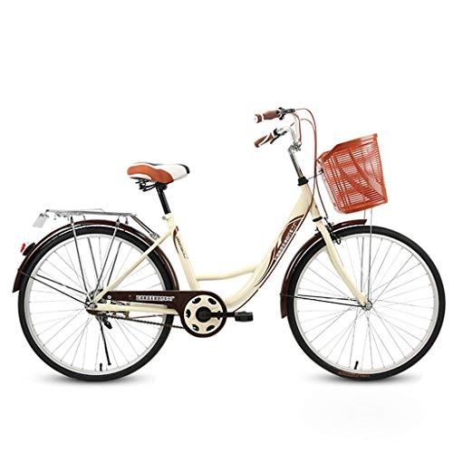 Ninasill Single Speed Beach Cruiser Bike, Comfortable Commuter Bicycle, High-Carbon Steel Frame, Front Basket & Bell, Rear Racks- US Stock