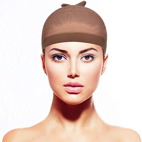 Gorros de Peluca de,Gorro de peluca, paquete de 4 gorro de peluca de nailon para mujeres y hombres (marrón claro)