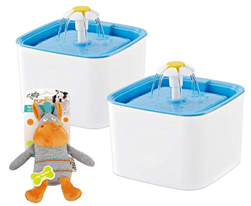 PETGARD 2er SparpackTrinkbrunnen Blue Sky 2,5 Liter Weiss-blau mit gratis Hundespielzeug