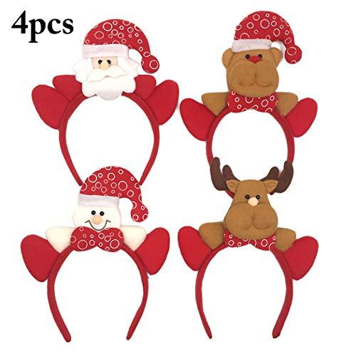 Zoylink 4 PIÈCES Bandeau De Noël Bandeau De Vacances Cerceau De Cheveux Santa Elk Snowman Bear Party