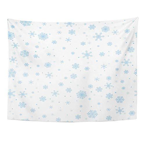 ShiHaiYunBai Wandteppiche, Tapestry Wall Hanging Blue Snow Winter Snowflakes Falling Pattern 60