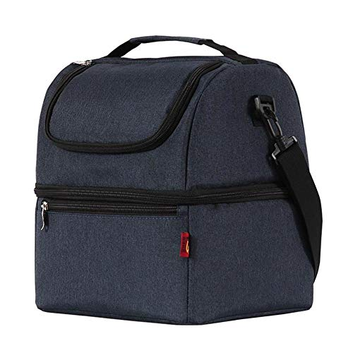 Eenvoudige en stijlvolle Thermo Lunch Tassen Thermische Lunch Doos, voor Kids Food Bag Picknick Bag Handtas Koeler Geïsoleerde Lunch Box Donkerblauw