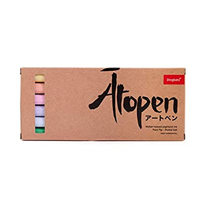 Dingbats Atopen 6-Pack Dual Tip Fineliner/Brush Pens for Calligraphy and Art Drawings