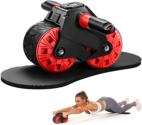 HIROLLOP Ab Roller for abdominal muscle training, Ab Wheel Roller with knee pads and intelligent display, Fitness Ab Carver Pro Roller with automatic rebound