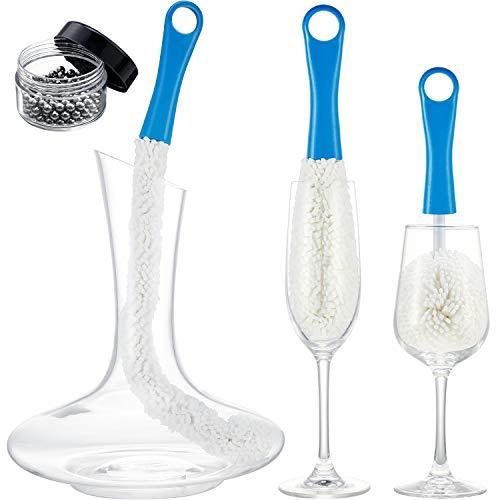 3 Stücke Weinkaraffe Reinigungsbürste Flexibler Flaschenreiniger Karaffe Reinigungskugeln Multifunktion Haushalt Reinigungswerkzeuge für Becher/Champagnerflöten/Tassen/Gläser (Blau)