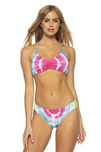 Soluna Women's Tied Up Tie Dye Halter Bikini Top Multi Pink L