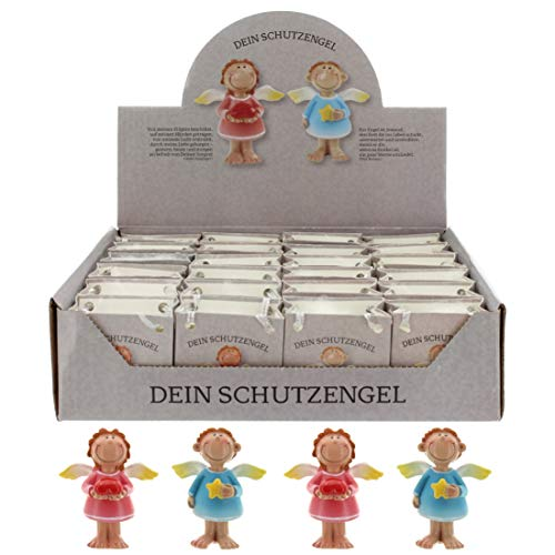 MIK Funshopping Schutzengel in Tüte 2-Fach Sortiert, 24er Display, Glücksbringer (rosa-blau)