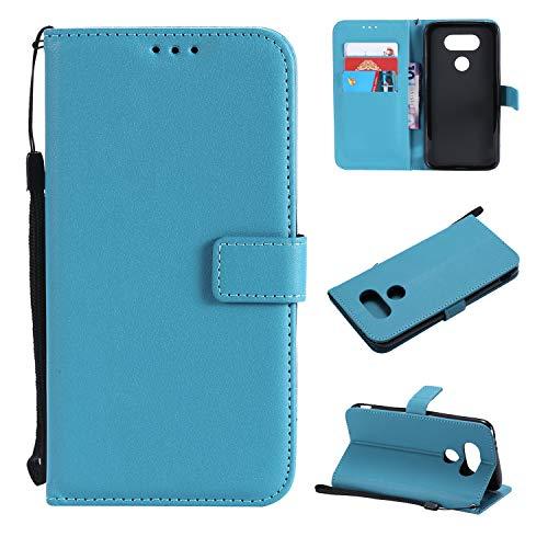 Snow Color LG G5 Hülle, Premium Leder Tasche Flip Wallet Case [Standfunktion] [Kartenfächern] PU-Leder Schutzhülle Brieftasche Handyhülle für LG G5 (H850) - COMS020820 Azurblau