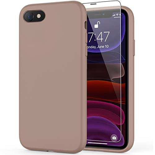 DEENAKIN iPhone SE 2020 Case,iPhone 7 Case,iPhone 8 Case with Screen Protector,Soft Liquid Silicone Gel Rubber Bumper Cover,Slim Fit Shockproof Protective Phone Case for iPhone 7/8/SE 2020 Light Brown