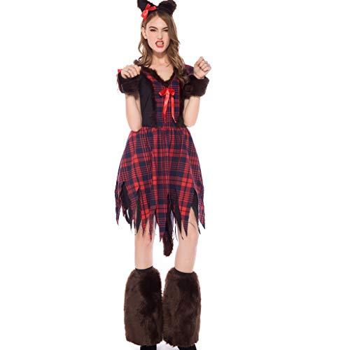 CLOOM Vestido de Conjunto de Bruja Mgica de Halloween Carnaval para Mujer&ChicaDisfraz de Cosplay Juego Animal Vestido LargoSexy&Lindo Animal Ropa FaldaAccesorios Decoracion