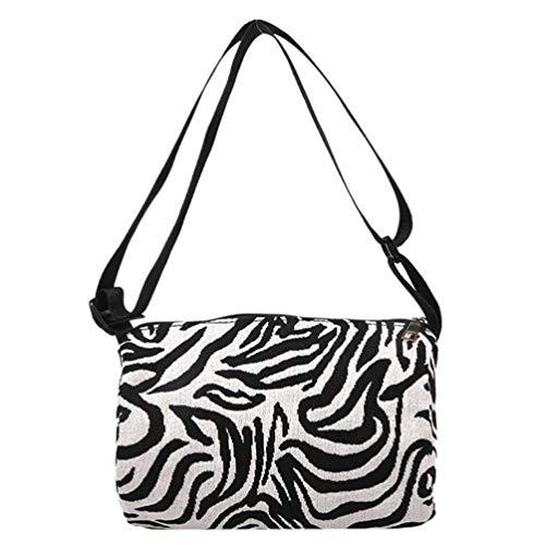 Amosfun Bolso cruzado con estampado de cebra ajustable, gran capacidad, bolsa de viaje para mujeres y niñas