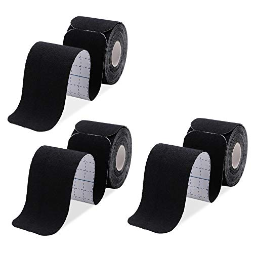 Kinesiology Tape Precut 3 Rolls-Athletic Sports Tape for Muscle & Joints-Physical Therapy Tape for Knee,Ankle,Shoulder,Plantar Fasciitis- Latex Free and Water Resistant-60 Strips, Black
