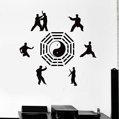 HFDHFH Tatuajes de Pared Artes Marciales Karate Aikido Deportes orientales Yin y Yang Pegatinas de Vinilo para Ventanas Sala de meditación Sala de Estar decoración para el hogar
