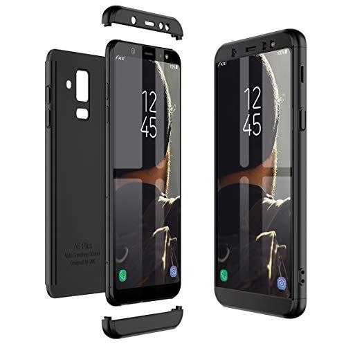 Winhoo Cover per Samsung Galaxy A6 Plus 2018 360 Gradi Full Body Protezione Custodia Samsung Galaxy A6 Plus 2018 Silicone Rigida Snap On Struttura 3 in 1 Antishock e Antiurto Case - Nero