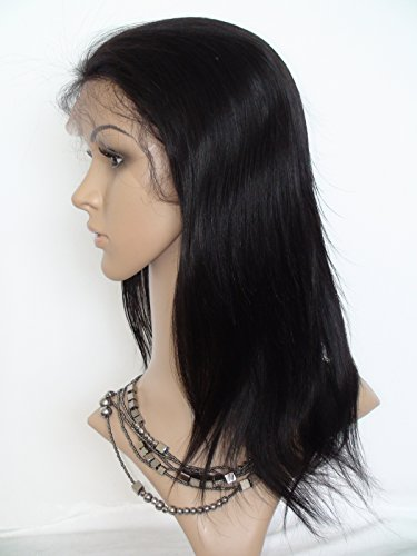 """2017 New 20"""" Full Lace Wig For Black Woman Indian Virgin Remy Human Hair Natural Straight Color #1b Off Black"""