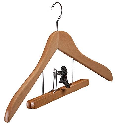 Weber Kleiderbügel 129 Star Buchenholz Natur lackiert Hosenklemmbügel mit Filzeinlagen