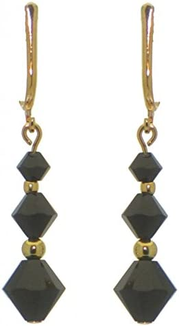 ATHALIE gold plated jet black crystal clip on earrings