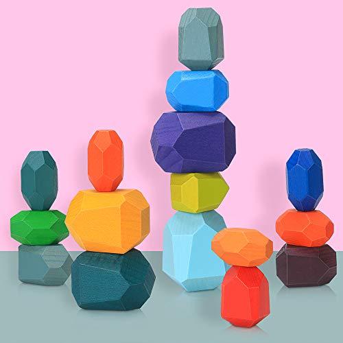 Juguetes de Apilamiento de Madera Piedras de Madera de Colores Equilibrio y Ordenar Montessori niños Juguete Educativo Bloques Construcción Madera Juego (16 pcs)