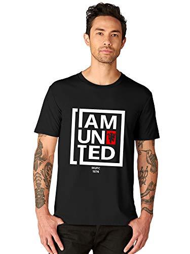 bluehaaat Men's Manchester United Football Club Graphics Printed Cotton T Shirt Half Sleeve(Black; XL)