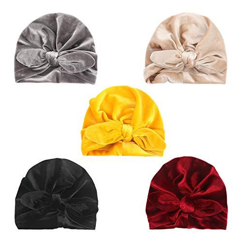 DRESHOW 5 Pcs Baby Turban Cloth Hat Baby Girl Soft Cute Toddler Cap Hat Knot Rabbit Hospital Hat 5 Pack Knot Velvet Ear 1 6years
