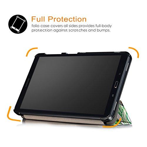 Xuanbeier Ultradünne Hülle Kompatibel mit Samsung Galaxy Tab A 10.1 2016 SM-T580/T585 (A6) Tablette Schutzhülle mit Ständer und Auto Schlaf/Wachen Funktion,Glücksbaum