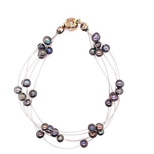 Perla de agua dulce gris pulsera 5filas de longitud 20–21cm Con Cierre Magnético
