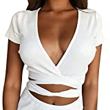 Longra T-Shirts Damen Kurzarm Party Oberteil Elegant Tief V-Ausschnitt Bodycon Tops Sexy Sommer Kurzarm T-Shirt in Wickeloptik Crop Tops Slim Fit Shirt Bluse Basic Shirt mit Rüschen