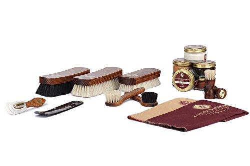 Langer & Messmer Set de 17 piezas para la limpieza y el cuidado del calzado, incl. cremas y cepillos para zapatos de cuero liso y ante